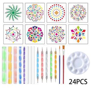 24pc Mandala Dotting Tools Rock Ball Nail Dot Painting Art Craft Kit Pen Stencil