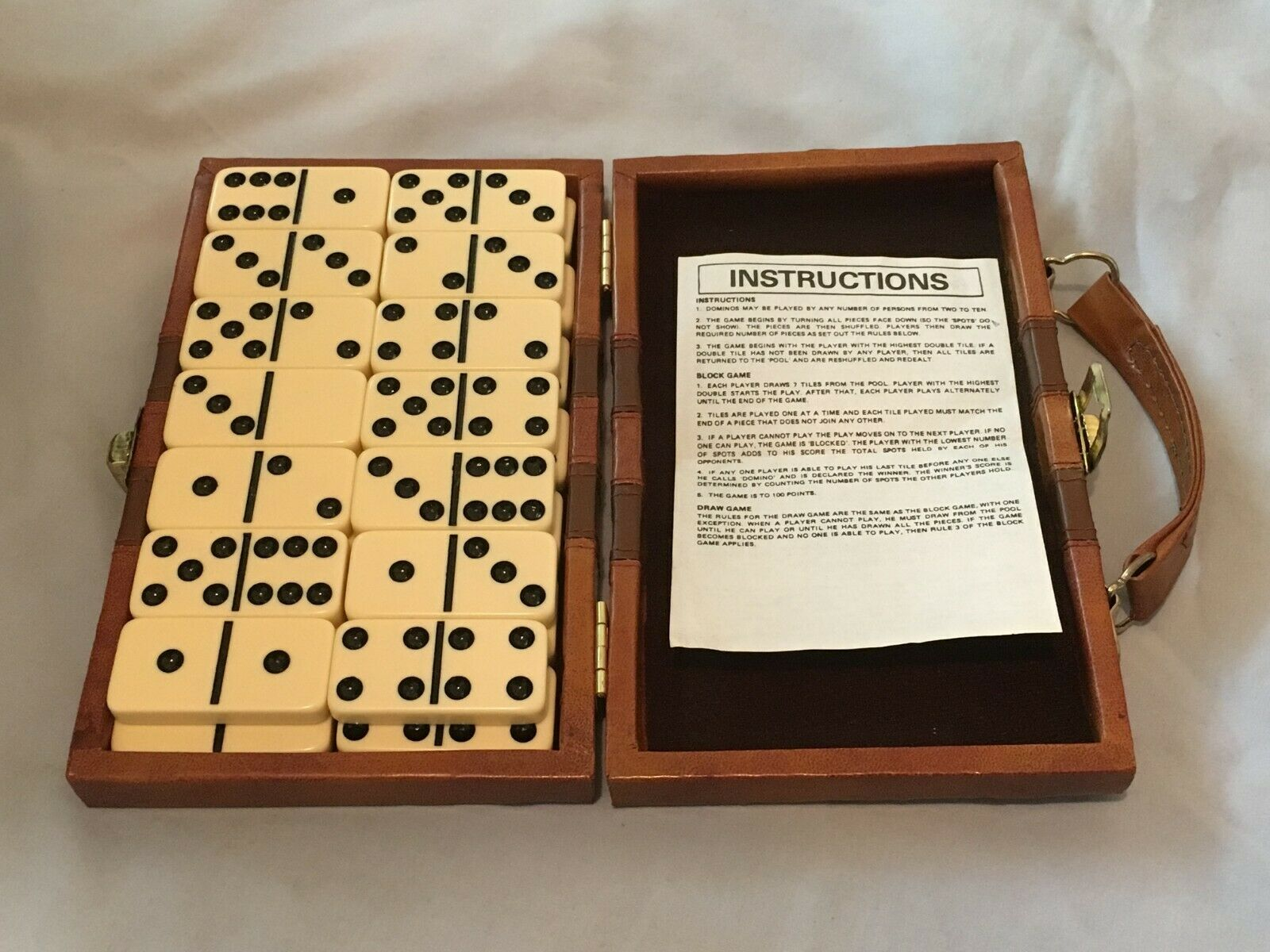 Vintage Double Six Domino Set With Faux Brown Leather Case and Instructions