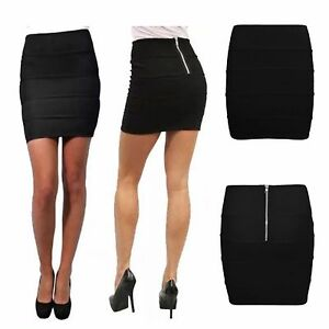 fa28db473a Details about WOMENS LADIES RIBBED ZIPPED BACK BODYCON STRETCH BANDAGE  GIRLS PENCIL MINI SKIRT