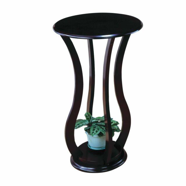 Round Cherry Top Plant Stand Wood Indoor Outdoor Garden Display Corner
