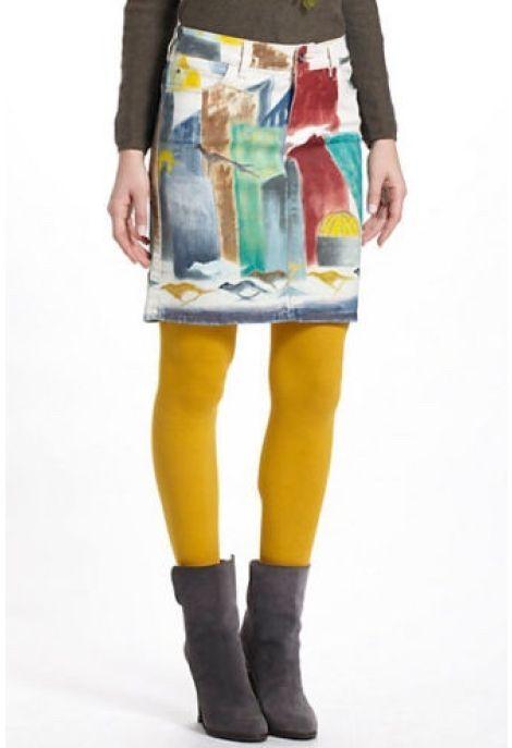 Anthropologie Skirt Pencil Denim Hives Handpainted Abstract Catherine Blinn, 27