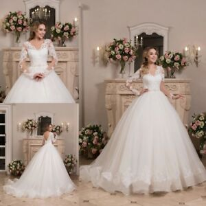 Details about Wedding Dresses Long Sleeves Open Back Bridal Ball Gown Plus  Size Lace Up Corset