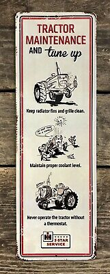 "International Harvester Tractor Maintenance//Tune-Up 17"" Embossed Tin Metal Sign"