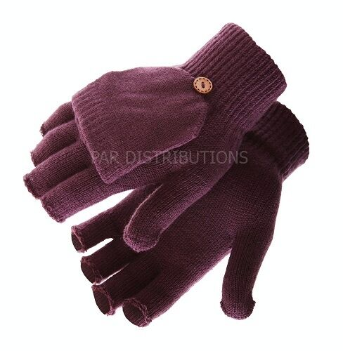 Light Purple Thermal Ladies Mens Gloves Mittens Fingerless Flap Thermal Winter
