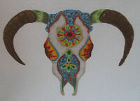 Handpainted Needlepoint Canvas Funda Scully Cow Skull V2