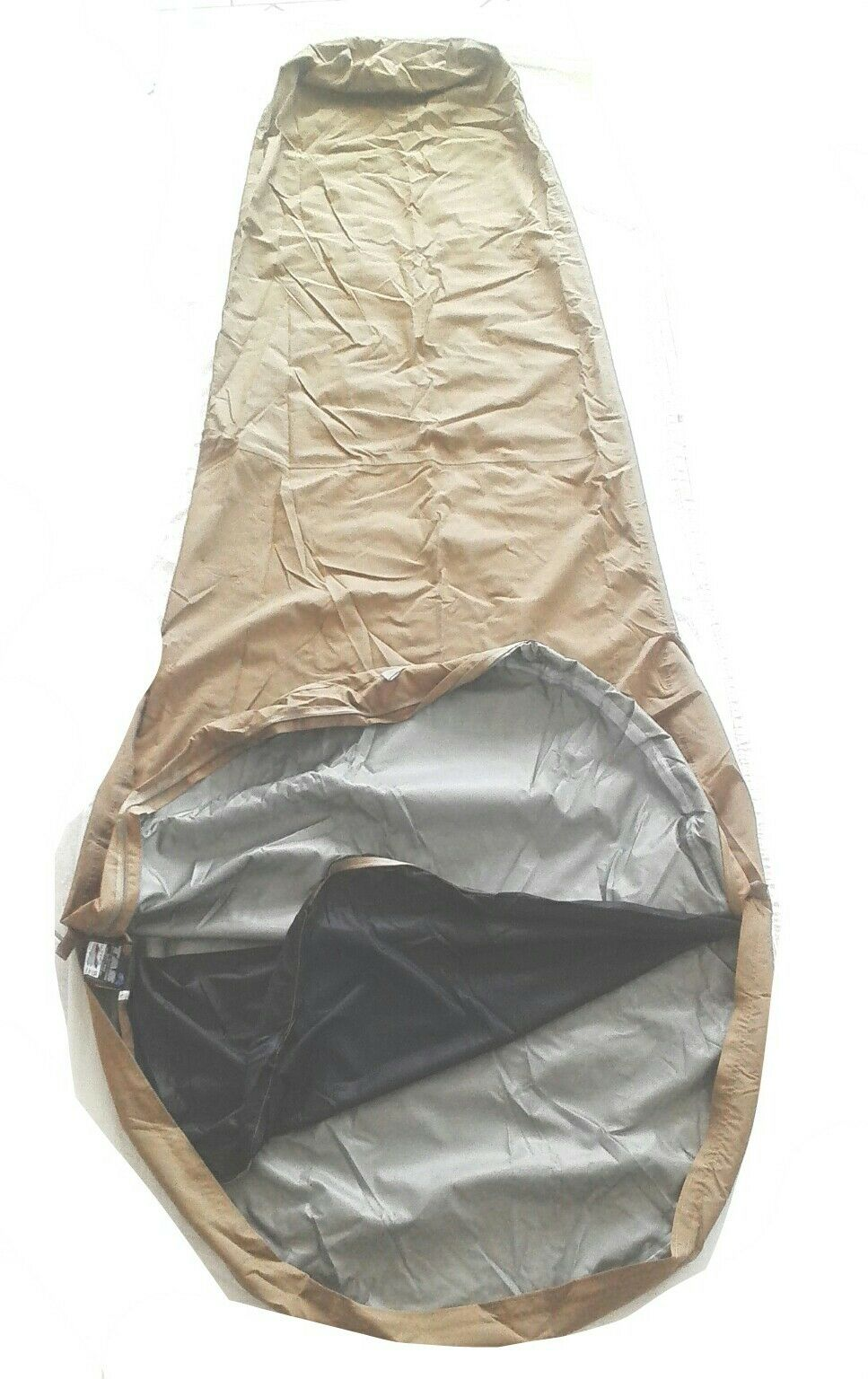 AUSTRALIAN MIL SPEC BIVVY BAG KHAKI LARGE 3 LAYER FABRIC 232X107X82CM