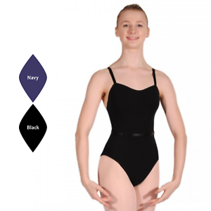 BLACK OR NAVY PLAIN FRONT COTTON CAMISOLE BALLET DANCE LEOTARD GIRLS LADIES