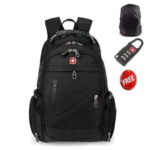 Black Swiss Fashion Travel Bag Multifunction Laptop Backpack Computer Cases New
