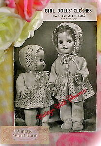 Vintage 1940s Dolls Clothes Knitting Pattern For An 18 Inch Doll