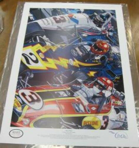 BOBBY AL AL JR UNSER FAMILY LIMITED EDITION LITHOGRAPH INDY 500 COLIN CARTER