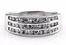 Women's 3 Row .72 ct K/I2 Diamond GIA Spec Band Ring in 10k Solid White Gold