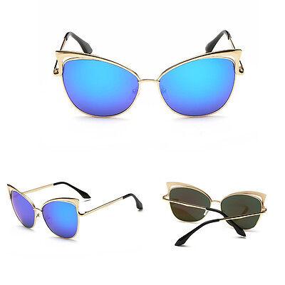 2015 New Trendy Mirrored Lenses Women Sunglasses Cat Eye Vintage Sunglasses