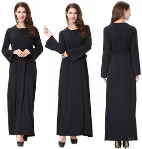 Women Maxi Islamic Muslim Black Kaftan Abaya Long Sleeve Party Maxi Dresses