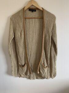 Ralph-Lauren-Black-Label-100-Silk-Golen-Knit-Cardigan-Jumper-Small-Petite-New