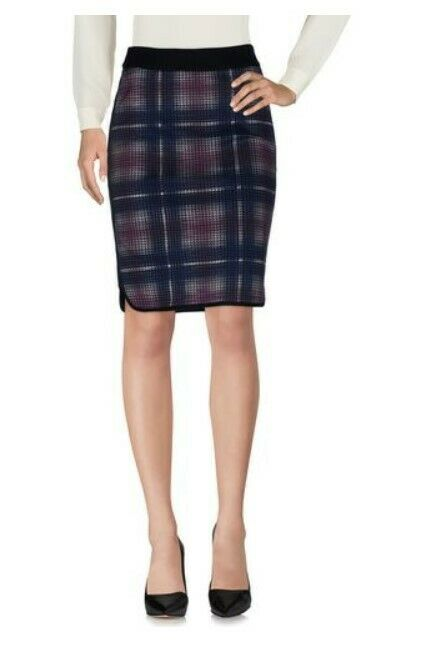 New Karen Millen Knee Length Plaid Skirt Size 8 MSRP  199