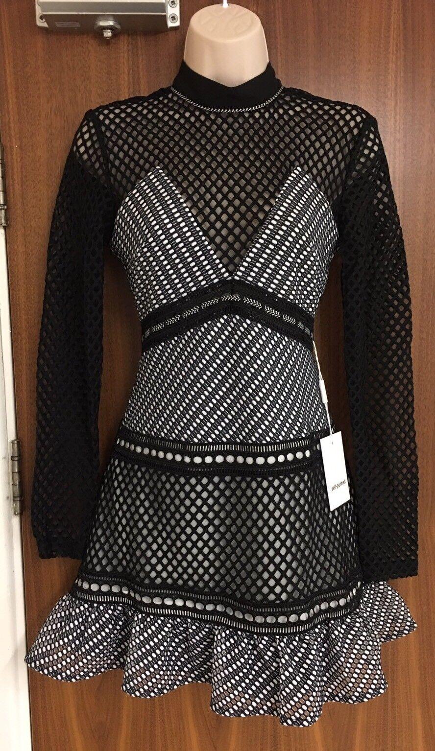 SELF-PORTRAIT Mono Mini Dress Größe UK 10
