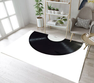 Details about Black and White Vinyl Records Area Rugs Bedroom Carpet Living  Room Floor Mat Rug