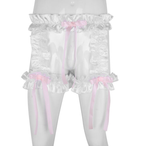 Men Shiny Satin Panties Christmas Sissy Maid Briefs Bikini Underwear with Garter
