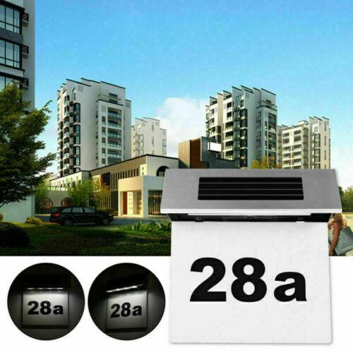 4LED Solar Powered Led Illuminated House Door Number Light Wall Plaque Modern UK