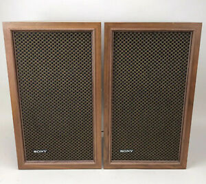 Sony-Bookshelf-Wall-Hanging-Speakers-Wood-Cabinets-Vintage-Local-Pickup-Only