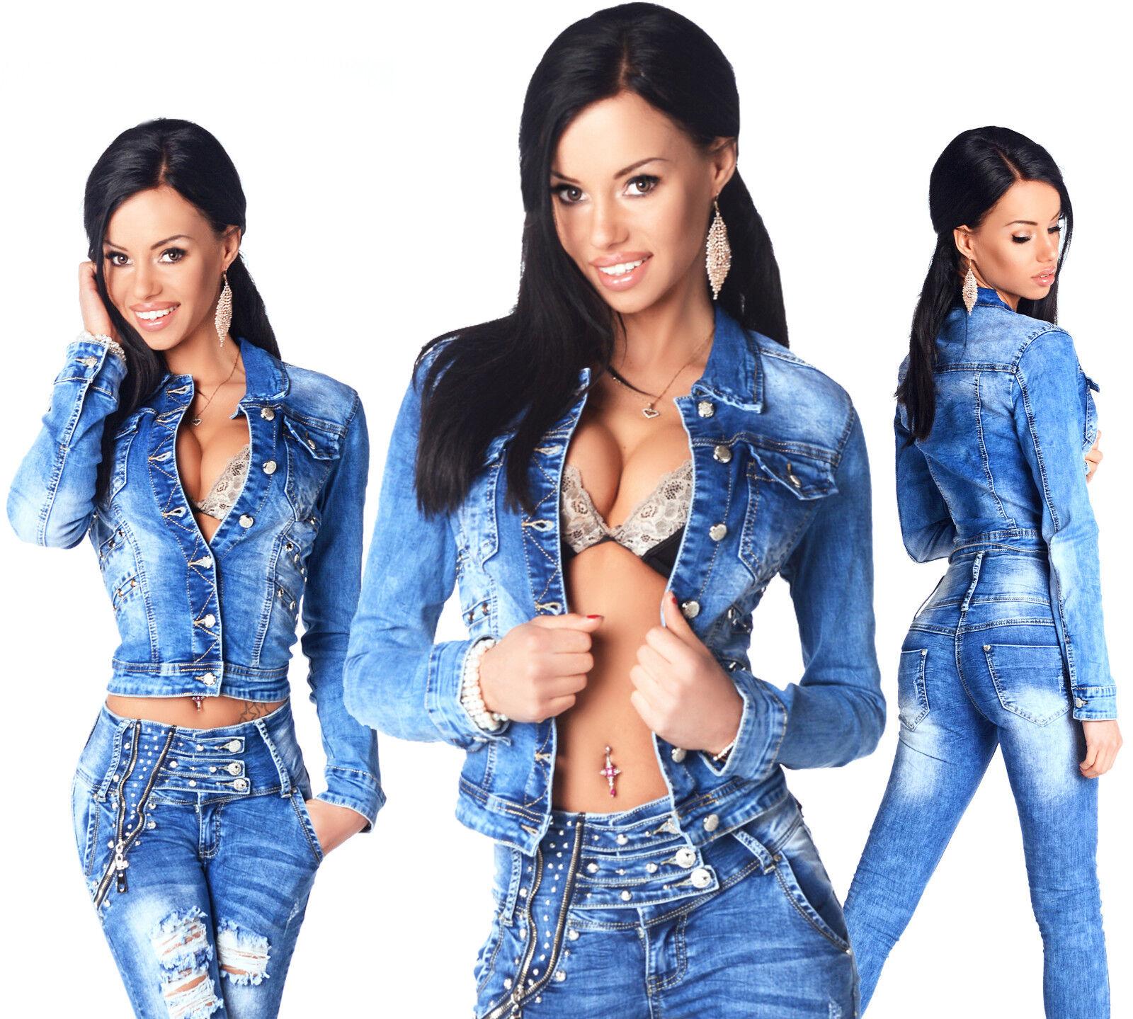 Sexy Neu Damen Stylisch Wash Abgeschnitten Blaue Jacke mit Knöpfen J