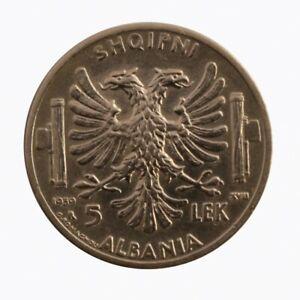 1939-Albanie-Vittorio-Emanuele-III-5-Lek-Monnaie-Originale-Argent-MF61719