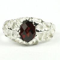 • R168-wg, Mozambique Garnet, 10k White Gold Men's Ring, Handmade