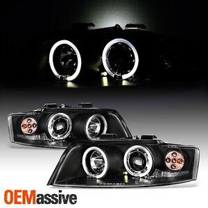 Fits 2002-05 A4 S4 2In1 JDM Black Dual Halo Projector Headlights W/Corner Signal