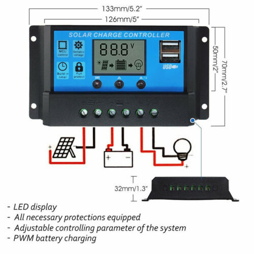 Solar Panel Charger Controller Battery Regulator USB LCD Reliable AU Stock