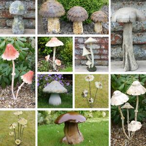 Details About Tall Rustic Mushroom Toadstool Metal Wood Distressed Finish Garden Ornament New