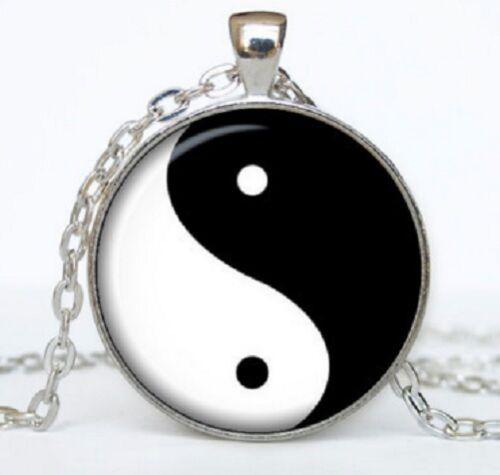 Black /& White Chinese Yin Ying Yang Feng Shui Charm Pendant Necklace Yingyang