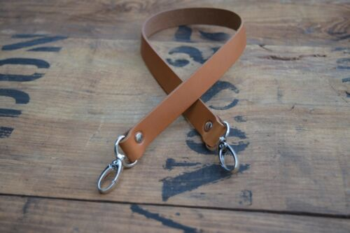 Replacement Leather Shoulder Bag Strap 25mm wide 600mm long with silver clasps
