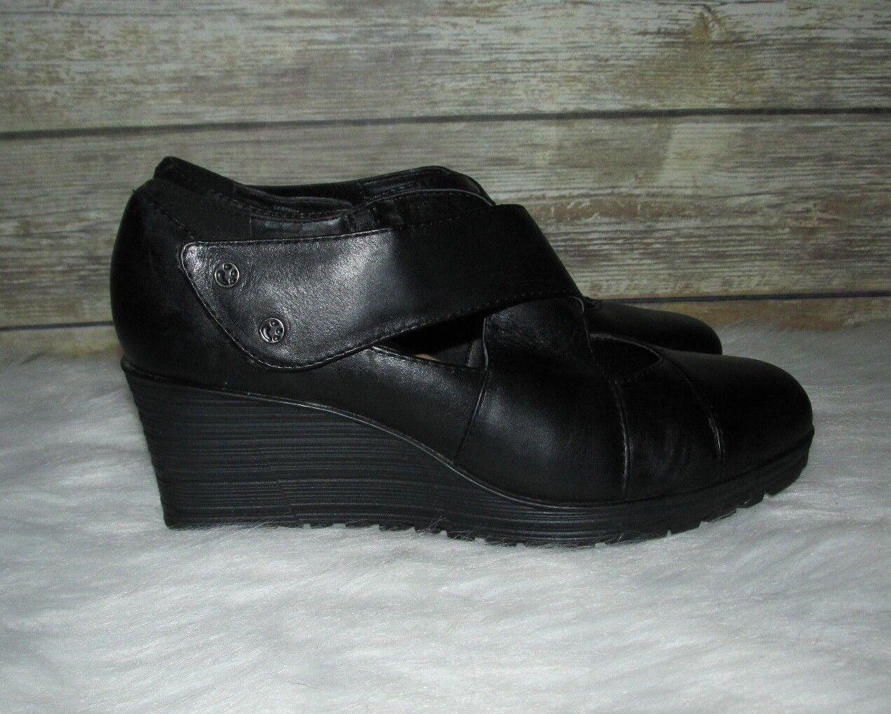 Earth Spindrift Spindrift Spindrift Black Genuine Leather Sz 8 B Mary Jane Cross Strap Wedge Heels 37ab43
