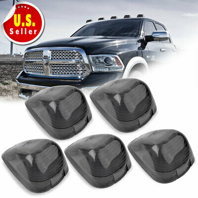 5pcs Roof Running Light Cab Marker Smoke Covers for 99-16 Ford F250 F350 F450