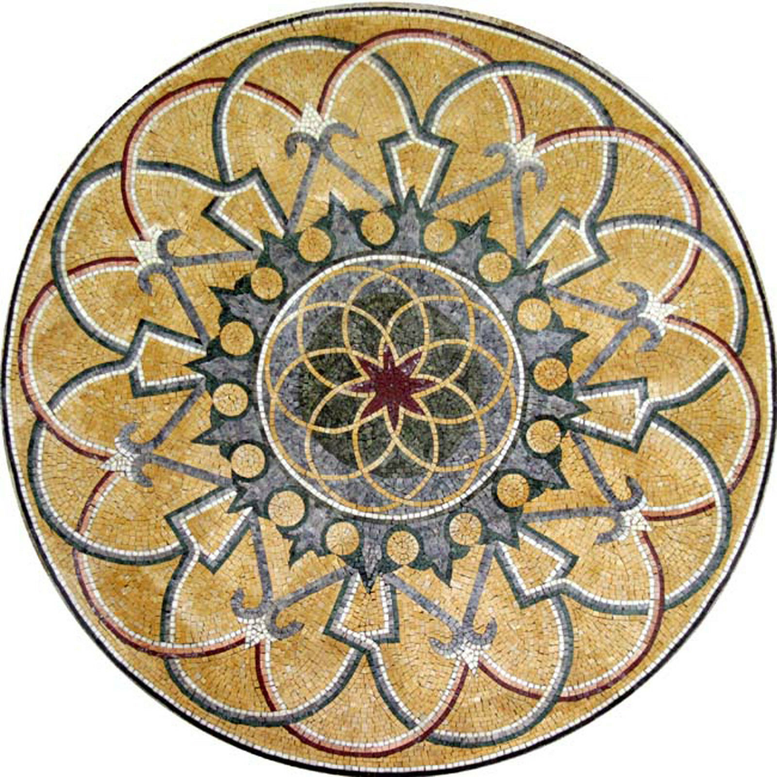 Rich Arabesque Round Medallion Motif Design Floor Pool  Home Marble Mosaic MD568