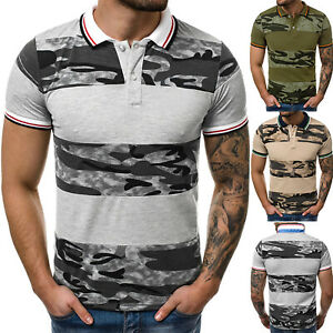 Mens-Muscle-Tee-Camo-Polo-Shirt-Short-Sleeve-Tops-Sports-Slim-Fit-T-shirt-Casual