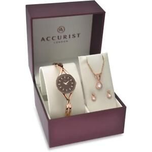 Accurist-8121G-3-Piece-Rose-Gold-Tone-Watch-Necklace-amp-Earrings-Set-RRP-150