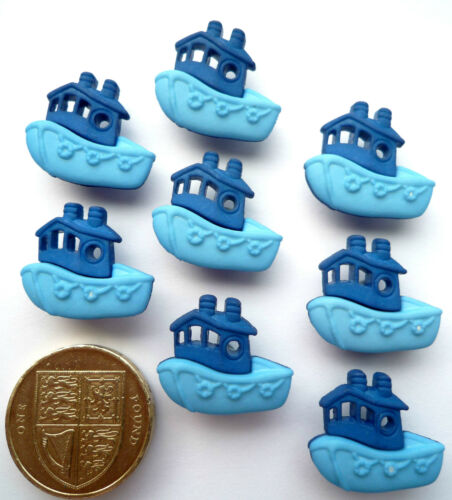 BLUE BOATS Craft Buttons 1ST CLASS POST Novelty Toy Tug Fishing Blue Boy Baby