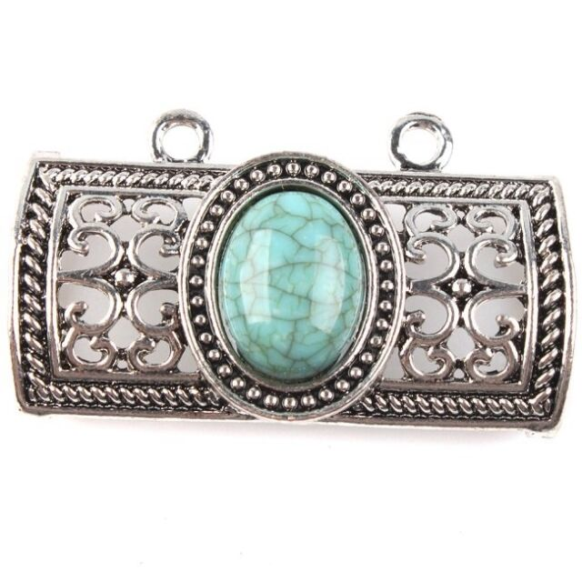 3pcs Antique Silver Hollow Oval Turquoise Muffler Pendants Fit DIY Handmade D