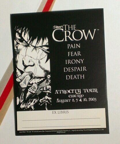 THE CROW ATROCITY TOUR EX LIBRISJAMES O/'BARR PROMO COMIC BOOKPLATE BLANK STICKER