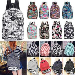 Mujer-Lona-Mochila-Escolar-Hombro-Viaje-Uni-Bolso-mochila-cartera-retro
