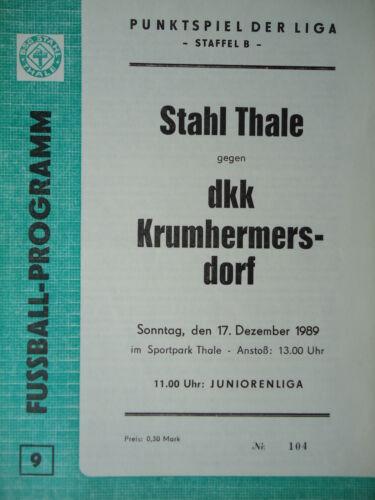 dkk Krumhermersdorf Programm 1989//00 BSG Stahl Thale