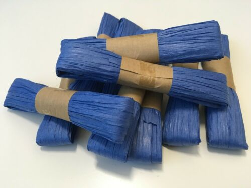 5 pack 50m total length BLUE paper raffia ribbon school and craft projects