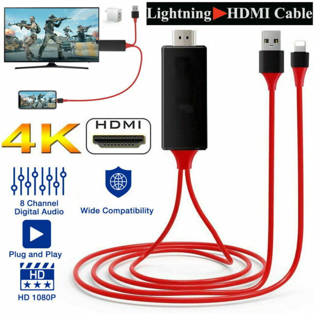Lighting to HDMI Adapter Cable 1080P Digital AV TV For iPhone 6/7/8 X Plus iPad