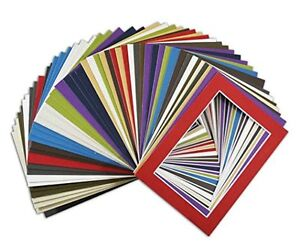Set of 50 5x7 Mix Color Mats White Core for 4x6 Pictures