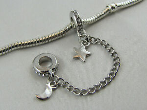 SC 021 SILVER PLATED SAFETY CHAIN WITH RHINESTONES EURO STYLE CHARM BRACELETS