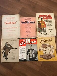 Vintage-Music-Scores-Sheet-Music-X-6-For-Piano-And-Organ