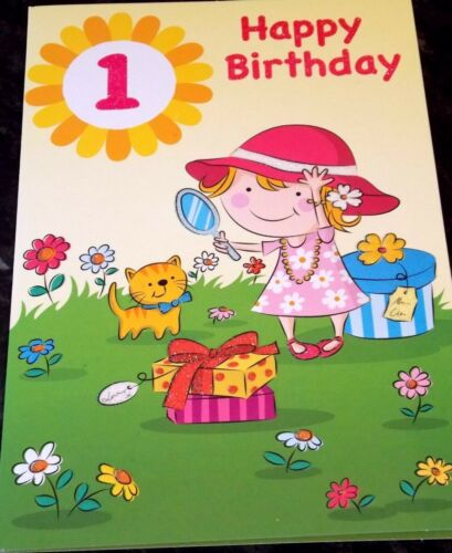 New Hat Theme. Girl/'s 1st Birthday Card by Heartstrings Cards