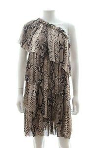Lanvin-Snake-Print-Silk-Chiffon-One-Shoulder-Dress-Brown