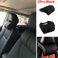 2xAuto Car Headrest Memory Cotton Black PU Leather Head Neck Rest Cushion Pillow